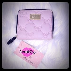 🆕️ Betsey Johnson Double Pouch Wallet. Pink Bow